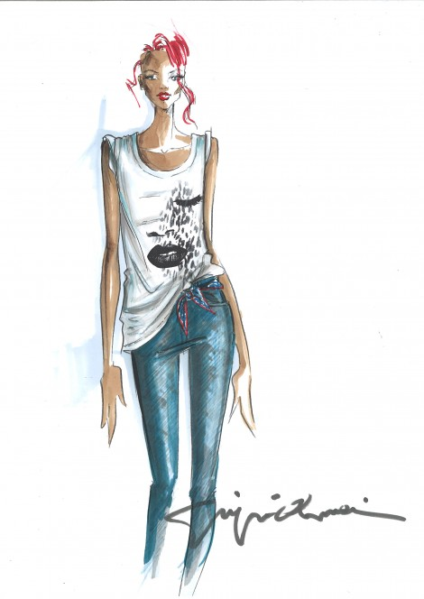 Sketches Rihanna for Armani 02