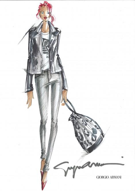 Sketches Rihanna for Armani