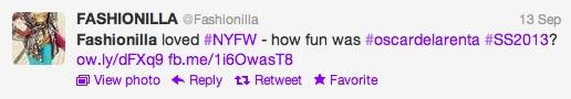 Fashionilla Tweet NYFW ss2013