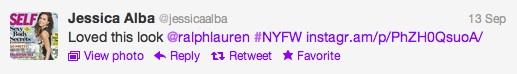 Jessica Alba Tweet NYFW